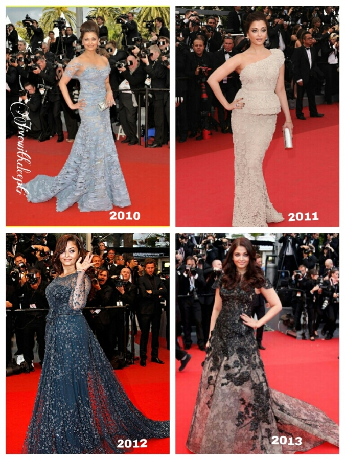 Aishwarya Rai, in Elie Saab at Cannes for 4 consecutiveyears