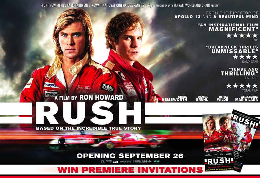 "Get a chance to win 10 invites to the movie premiere of ""Rush"""