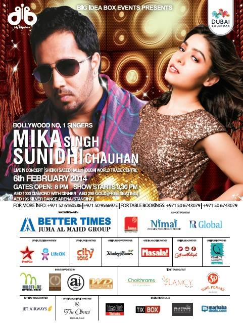 Mika Singh and Sunidhi Chauhan Live In Concert on 6 Feb, 2014